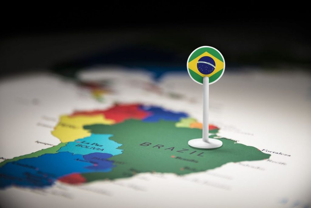 bigstock Brazil Marked With A Flag On T 279455650